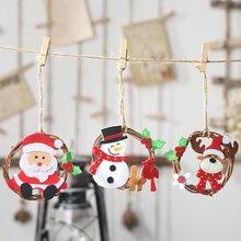 2019 Christmas Wooden Pendants Ornaments DIY Wood Crafts Xmas Tree Non-woven rattan pendant Santa Claus garland Kids Gift