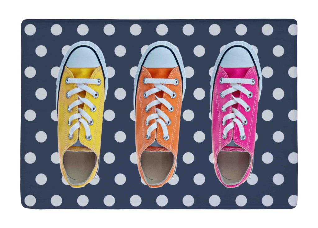 Floor Mat Navy blue dot retro colorful shoes Print Non slip Rugs Carpets alfombra For font