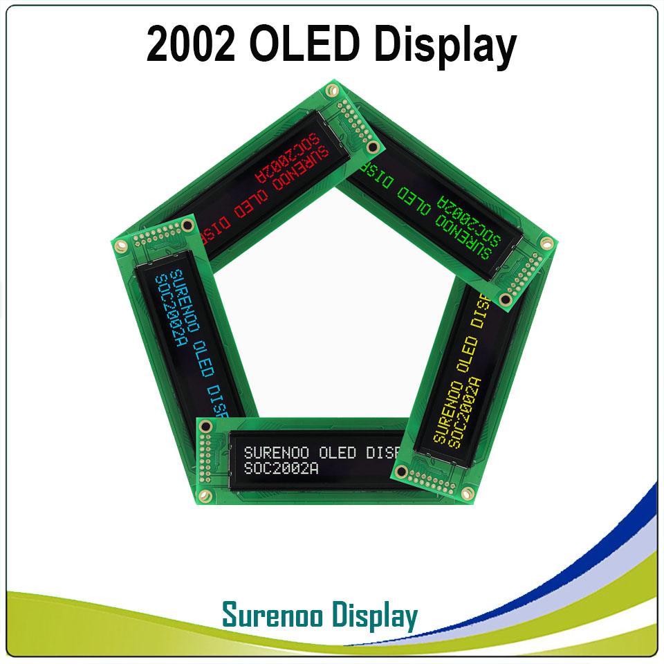 Real OLED Display, <font><b>2002</b></font> Parallel OLED Compatible 202 20*2 Character LCD Module Display LCM Screen build-in WS0010, Support SPI image