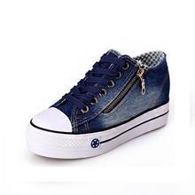 2018 Новая бесплатная доставка новая парусиновая обувь модная женская обувь для отдыха Женская Повседневная обувь джинсы синий 35-40