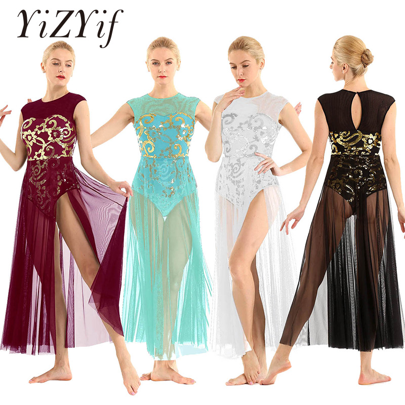 Ballet Dress Leotards For Women Sleeveless Floral Sequins Tank Leotard Maxi Dress For Lyrical Modern Contemporary Dance Costume