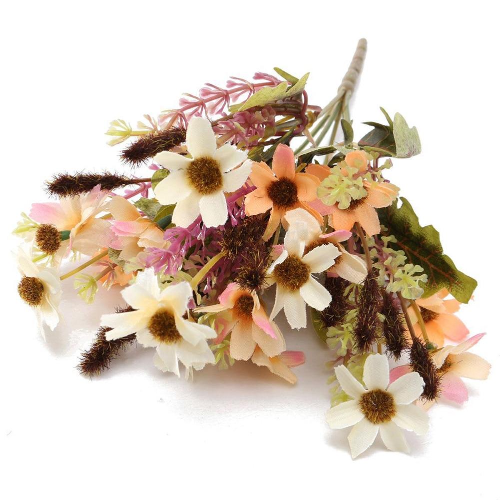 Hot Sale 18 Heads Fake Silk Flowers Bouquet Artificial Daisy Wedding