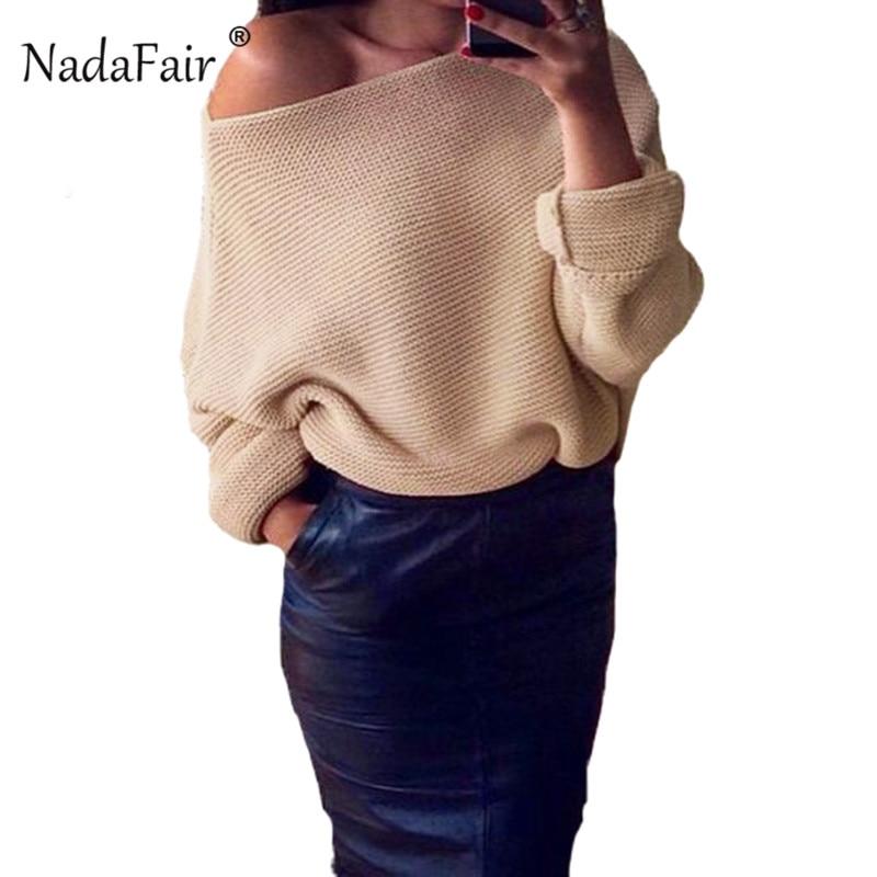 Nadafair invierno fuera del hombro sexi suéter de punto suelto mujeres jerseys 2018 otoño sólido casual suéter jumpers pull femme