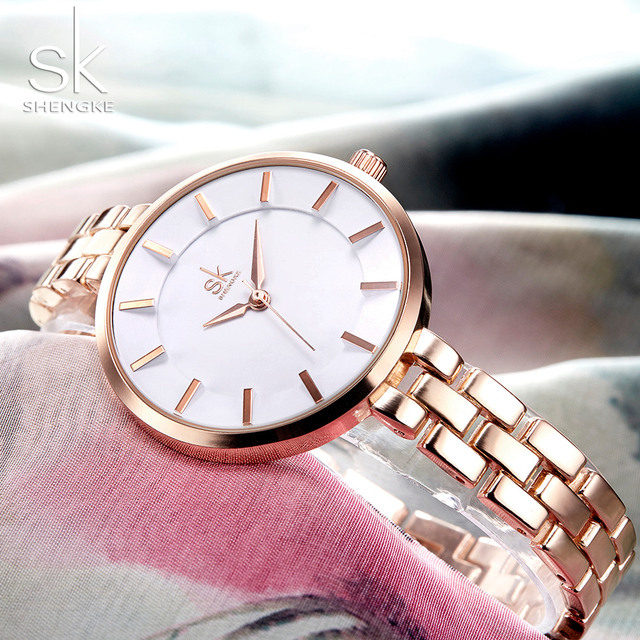 Shengke New Women Bracelet Wrist Watches Simple Girls Fashion Geneva Quartz Cloc