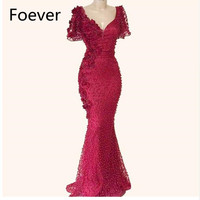 Beaded Mermaid Evening Dresses Arabic Middle East Women Formal Gowns Muslim Party Dress 2019 Couture Dubai V Neck Prom Dresses