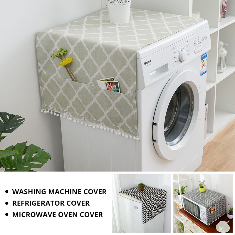 Faux Linen Washing Machine Cover With Pocket Refrigerator Top Cover Microwave Oven Dust Proof Cover Household Home Storage