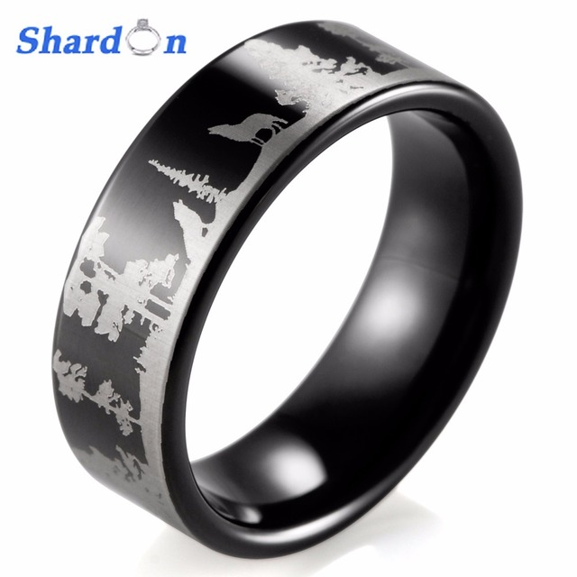 Shardon Animal Landscape Scene Wolf Wolves Ring Engraved Flat Black Tungsten Bague Mens Rings Anillos