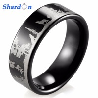 SHARDON Animal Landscape Scene Wolf Wolves Ring Engraved Flat Black Tungsten Ring bague mens rings anillos anel designer rings