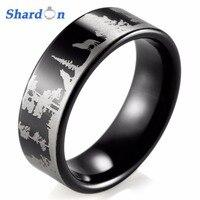 Shardon animal paisaje escena Lobo lobos anillo grabado plana negro tungsteno anillo mens anillos Anel anillos de diseño