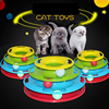 Colorful Funny Cat Pet Toy Interactive Cat Toys Intelligence Triple Play Balls Disc Turntable Cat Toy