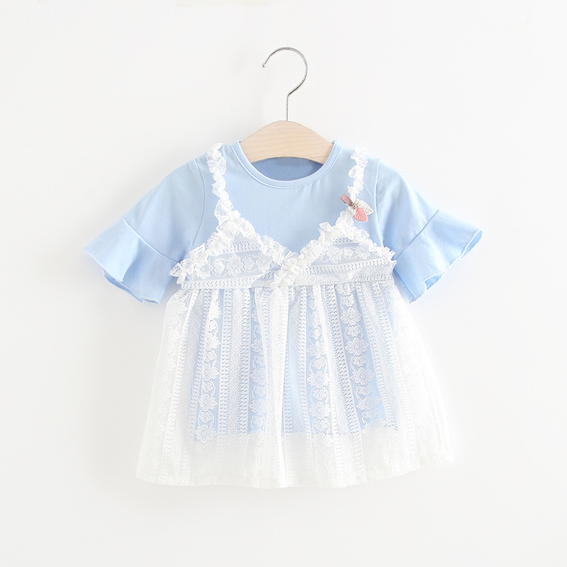 Sweet Blue Summer Girl Dress Toddler Dress for Girls Infant Baby Causal Holiday Birthday Party vestido infantil Sundress Wear