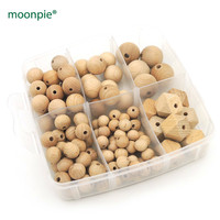 DIY box set teether baby nursing accessory natural wooden beech beads round hex bead baby Nursing paci holder finding EA362