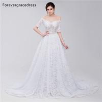 Forevergracedress Elegant White Wedding Dress Off The Shoulder Long Lace Up Back Bridal Gown Plus Size