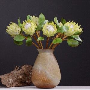 Image 3 - 牧歌的なスタイル 1 ピース偽の花美しい王プロテア手作り造花ディスプレイホーム装飾絹の花
