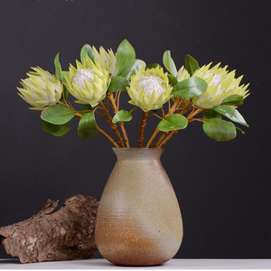 Image 3 - Pastoral Style 1 Piece Fake Flower Beautiful The King Protea Handmade Artificial Flowers Display Home Decorative Silk Flowers