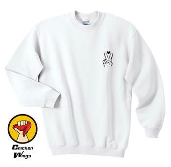 Peace Sign Sweatshirt - Pocket Womans Sweatshirt Mens Shirt Hippie Love Peace Freedom Heart Nail Fingers Cute Graphic C023 peace processes