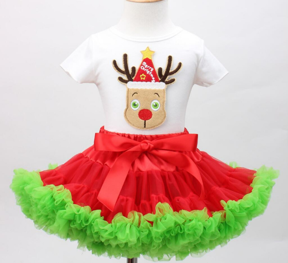 2PCs/Set Short Sleeve Christmas Outfit White T-Shirt Green Red Tutu Skirt Baby Girl Little Kids New Year Party Clothes 12M-7T шапка kusto steam short red white