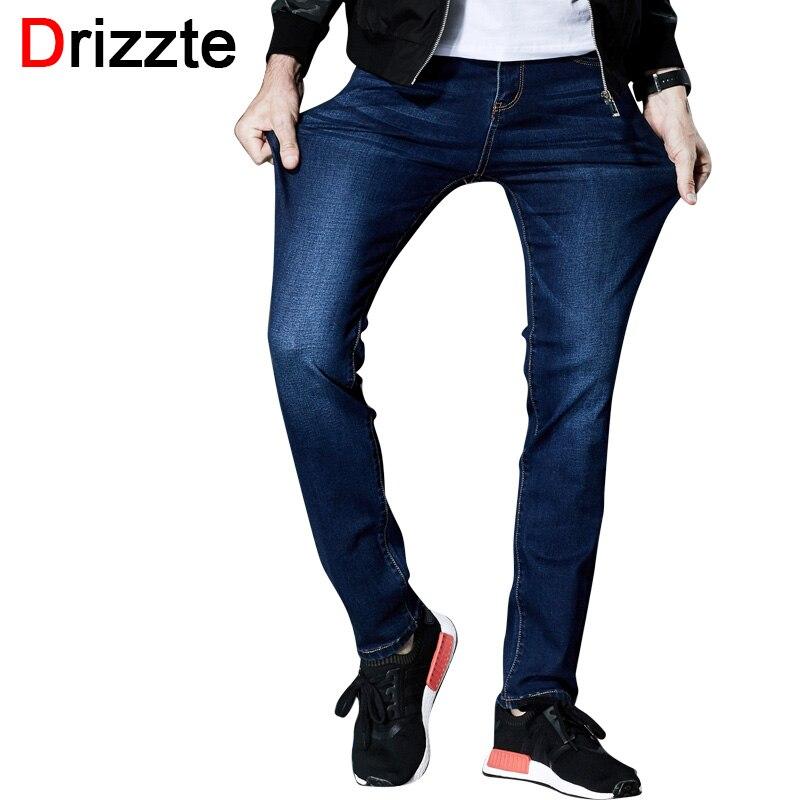 Drizzte Mens Fashion Stretch Denim Jeans Lycra Blue Slim Jean Pants Plus Size 33 34 36 38 40 42 44