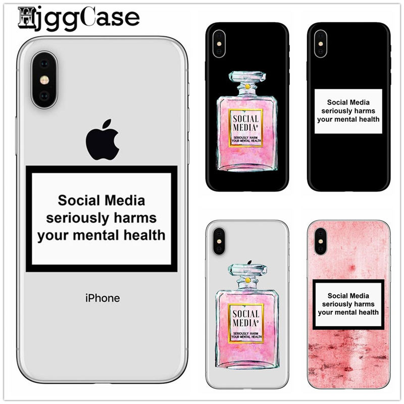 Social Media Seriously Harms Your Mental Health Phone Case For Iphone 6s 8 7 Plus 5S SE X XS MAX XR Cover For Huawei P9 P10 P20
