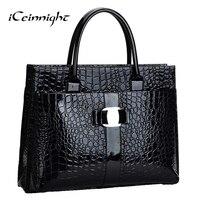 Lowest Price Crocodile Pattern Black Red Leather Bags Women Handbag With Metal Logo Bolsa Feminina Dollar
