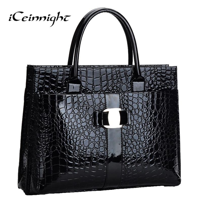 Iceinnight modello coccodrillo nero rosso borse in pelle donne borsa con logo in metallo borse bolsa feminina dollaro negozio on-line