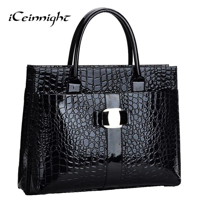Iceinnight patrón de cocodrilo negro bolsas bolso de las mujeres de cuero rojo c