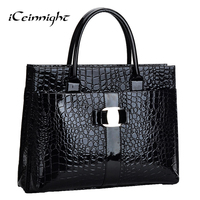 Lowest Price Crocodile Pattern Black Red Leather Bags Women Handbag With Metal Logo Bolsa Feminina Dollar