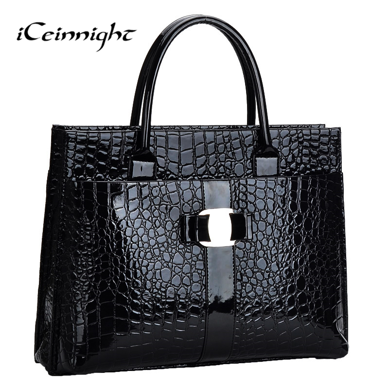 iCeinnight Crocodile Pattern Black Red Leather Bags Women Handbag With Metal Log