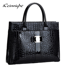 iCeinnight Crocodile Pattern Black Red Leather Bags Women Handbag With Metal Logo bolsa feminina dollar shop