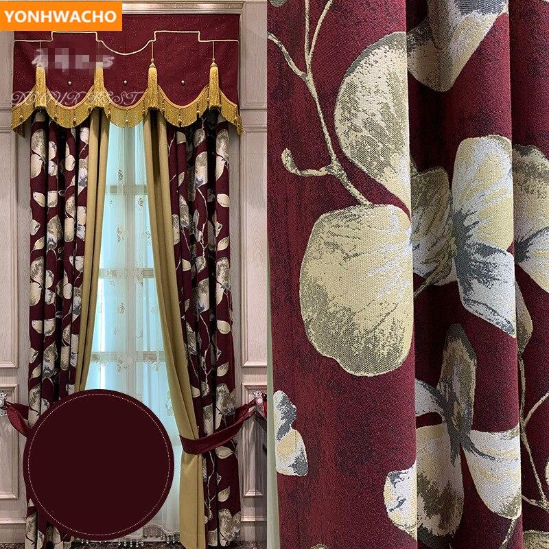 Rideaux personnalisés villas américaines épais occultant salle de mariage coton jacquard rouge tissu occultant rideau tulle cantonnière drapé B220