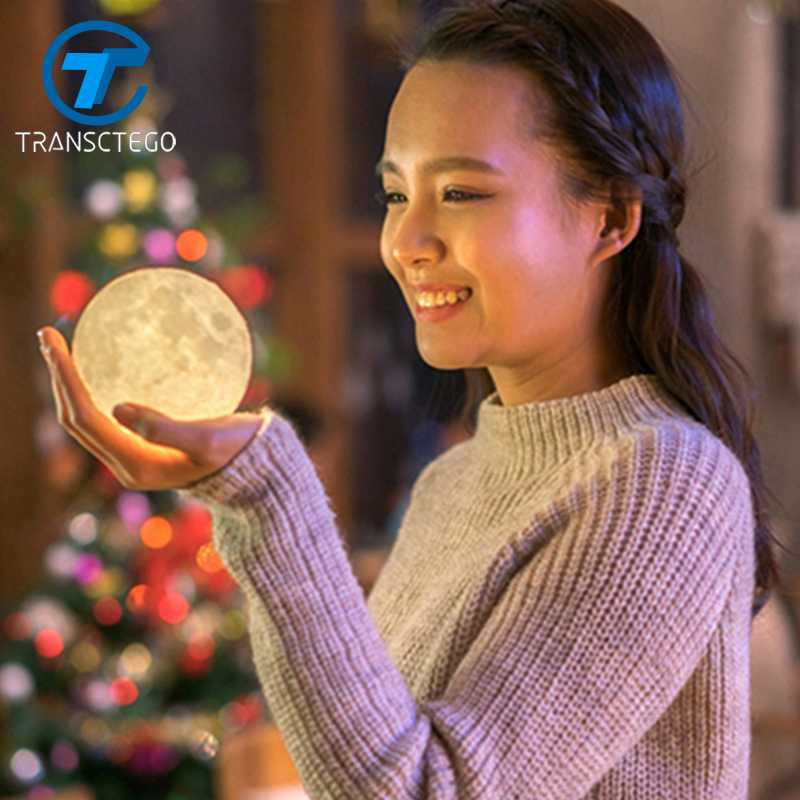 TRANSCTEGO 3D Print Moon Lamp Charging Moon Dimmable Night Light Novelty Lighting Luna Private Festival Birthday Baby Gift levitating moon light magnetic floating 3d print moon lamp led night light 2 color change luna moonlight baby kids birthday gift
