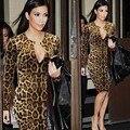 Бесплатная доставка новая мода женщины клуб платье сексуальный леопарда высокие качество длинным рукавом платье Тонкий пакет бедра платье размер толчок X0036