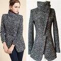 Женщины куртки Европейский стиль зимой шерстяные пальто высокого отложным воротником Ветрозащитный толстая верхняя одежда feminina