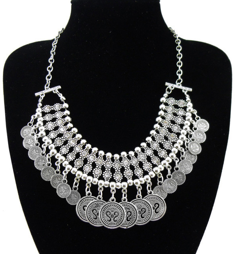 Bohemian Rhinestone Metal Bead Disc Hollow S Coin Bib Necklace Boho Retro Silver Ethnic Turkish Jewelry Lots 6Pcs
