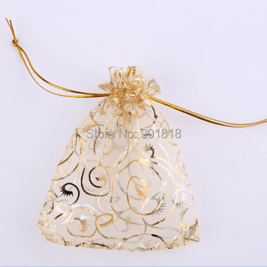 25pcs/lot 7*9/9*12cm Christmas Gold Organza Jewelry Pouch Favor Wedding Party Gift Bag Christmas Bags F1742