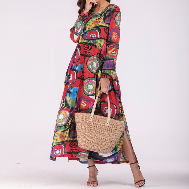 8698ea81e67 Floral Printed Kaftan Long Dress Women Casual Long Sleeve Thin Cotton Linen  Dresses Clothes Boho Pockets Beach Party Dress  20