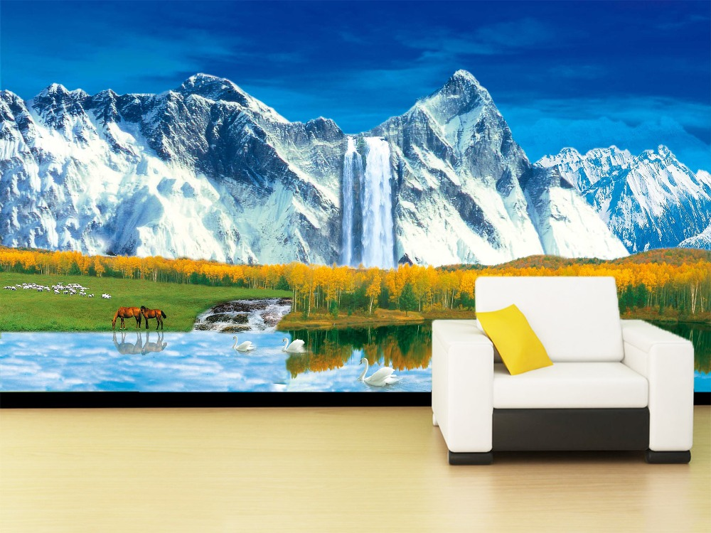 [Self-Adhesive] 3D Waterfall Snow Mountain Animal Forest 62 Wall Paper Mural Wall Print Decal Wall Murals