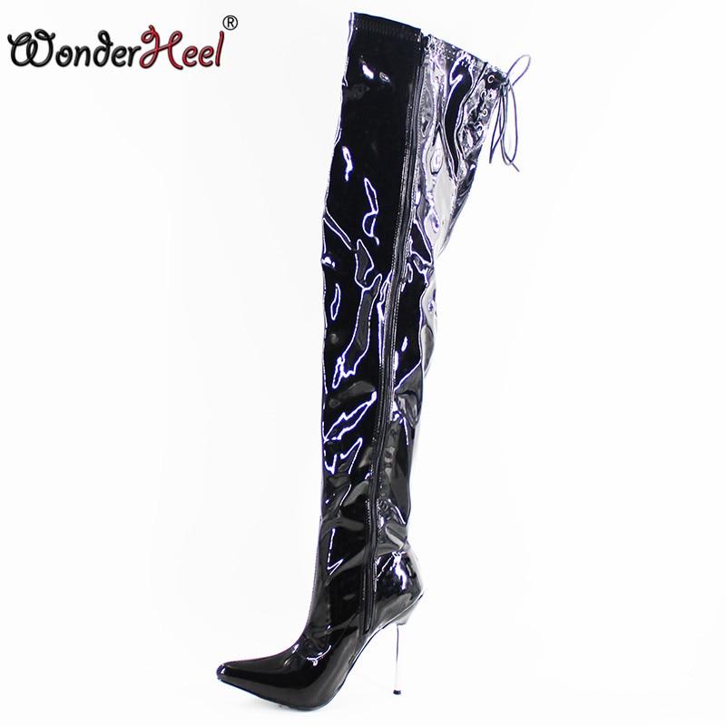 Wonderheel Extreme high heel 12cm stiletto Heel over knee boots thigh high boots pointed toe nightwear