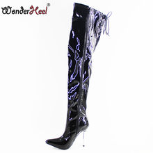 Wonderheel Extreme high heel 12cm stiletto Heel over knee boots thigh high boots pointed toe nightwear super girl sexy boots(China)