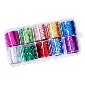 Image 4 - Lot de 10 pièces feuille de clou ciel étoilé (10 couleurs) papier holographique décalcomanies Nail Art transfert autocollant 2.5*100cm outils à ongles (10 pièces, 8)