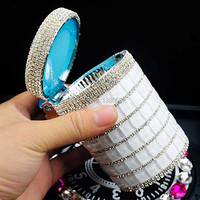 Fashion Top Grade Diamond With LED Light Cigarette Smoking Car Ashtray Holder With Lids For Women Gift