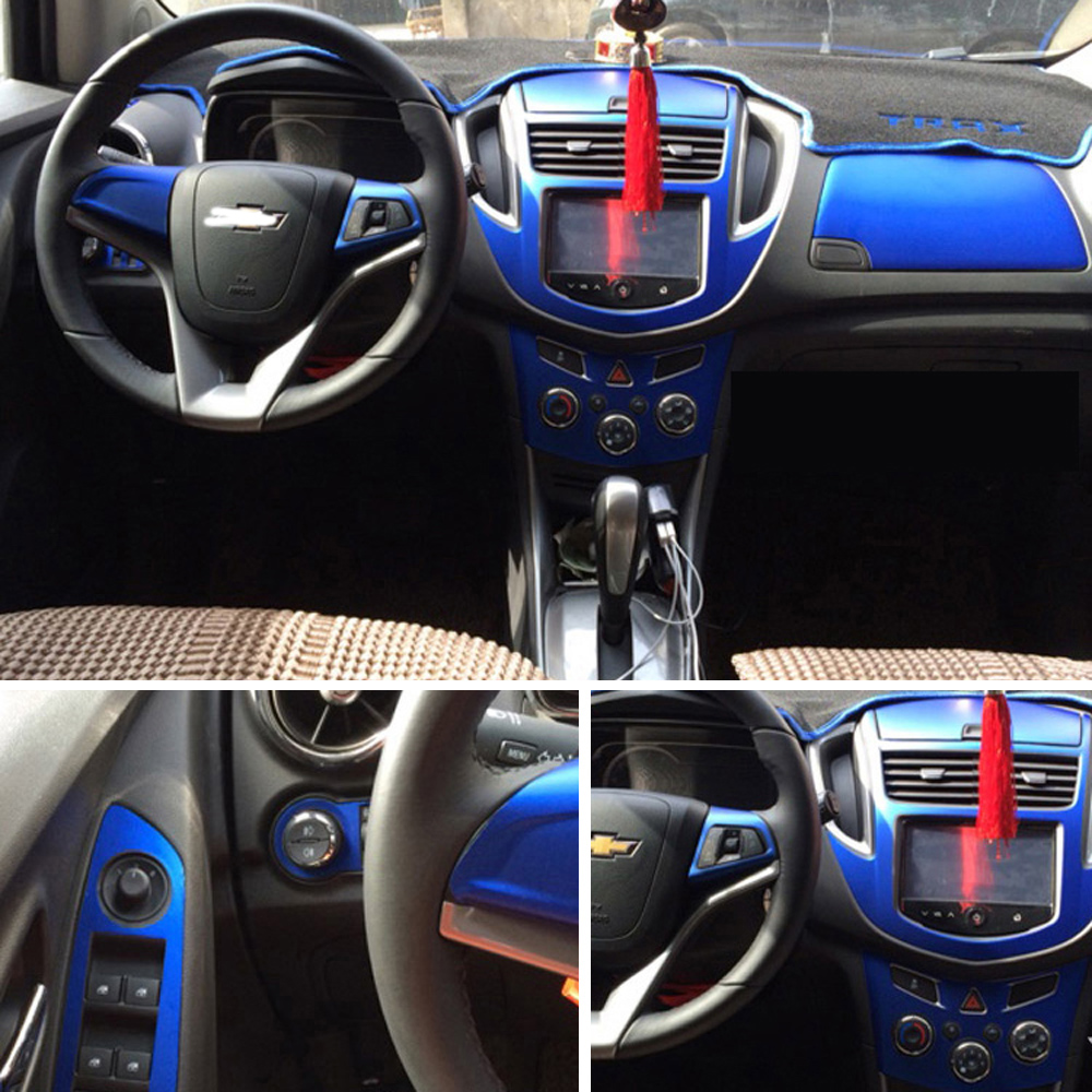 For Chevrolet Trax Interior Central Control Panel Door Handle 3D/5D Carbon Fiber Stickers Decals Car Styling Accessorie