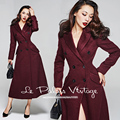 LIMITED SALE Le Palais Vintage 2017 Winter New Elegant Temperament Wine Red Retro Classic Double Breasted Long Women Wool Coat
