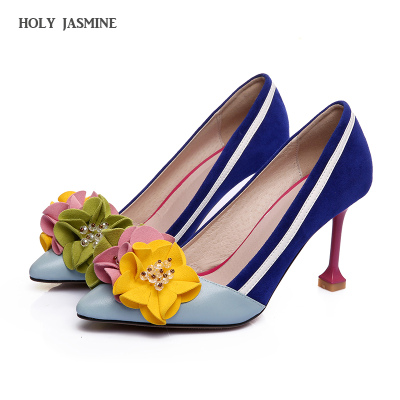 2018 Spring genuine leather Fashion original design thin high heels shallow women flowers luxury pumps pointed toe brand shoes 2015 autumn korean style pointed shoes with thin heels original glass double peach heart design shoes leather shoes