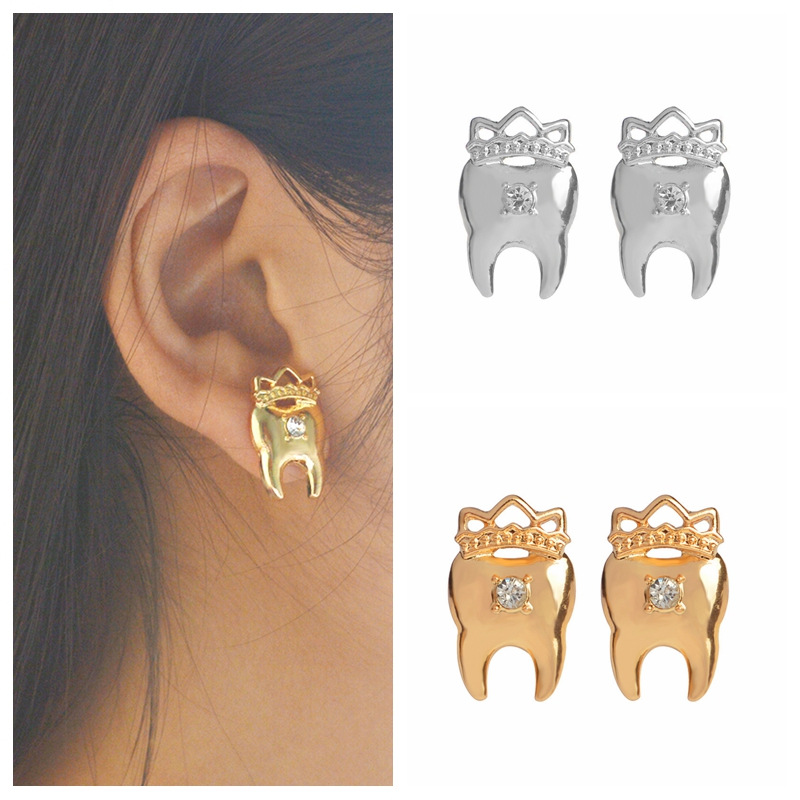 Gold/silver Tooth Earrings With Rhinestone Stud Earrings Ear Jewelry Tooth jewelry Medical Jewelry Earrings for women girl золотые серьги по уху