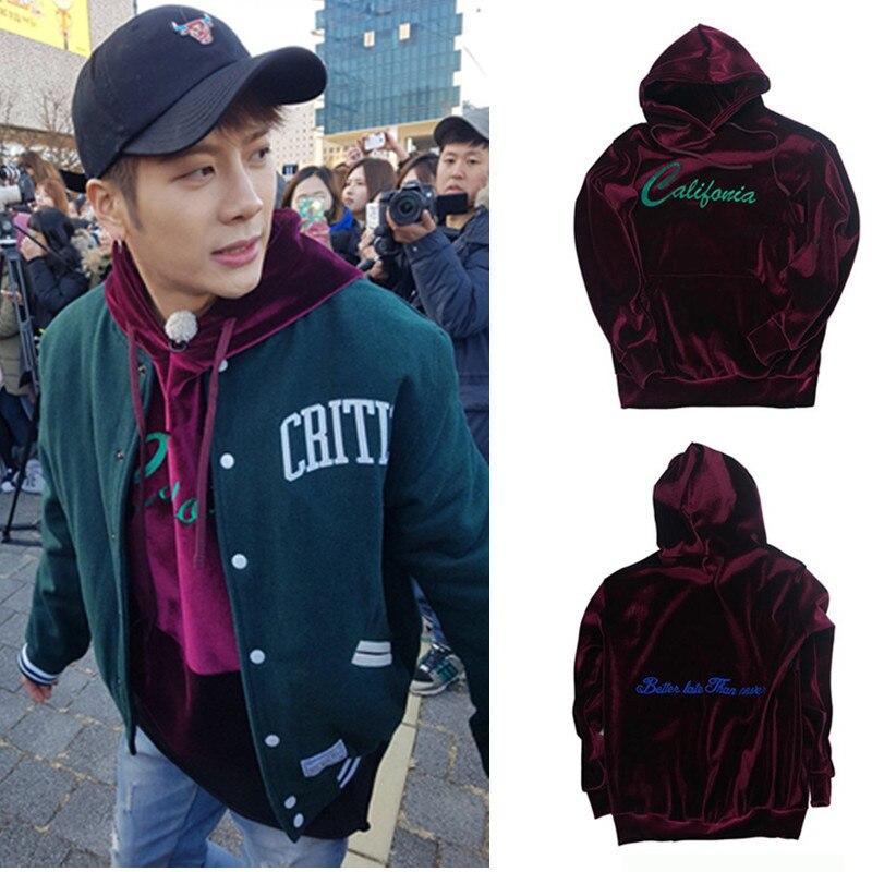KPOP GOT7 Jackson Sweatershirt Velvet Embroidery Unisex Cap Hoodie Jackson Same Style Casual Sport Jumper Pullover New