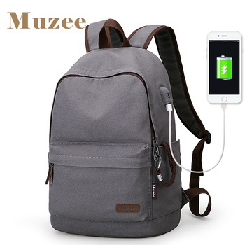 2018 Muzee New Canvas Backpack Anti-theft College Students School Backpack USB Charging Design Bags for Teenager Travel Backpack