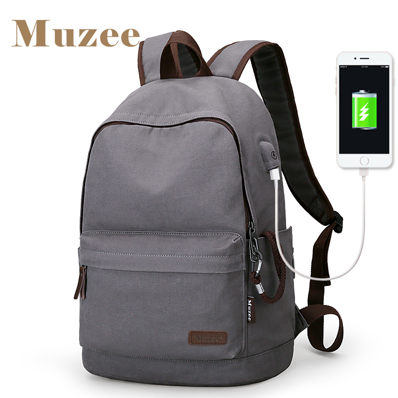 2017 Muzee New Canvas Backpack Anti-theft College Students School Backpack USB Charging Design Bags for Teenager Travel Backpack fashion new women students lovely canvas backpack college small cartoon print sathel multifunction travel bags mochila feminina