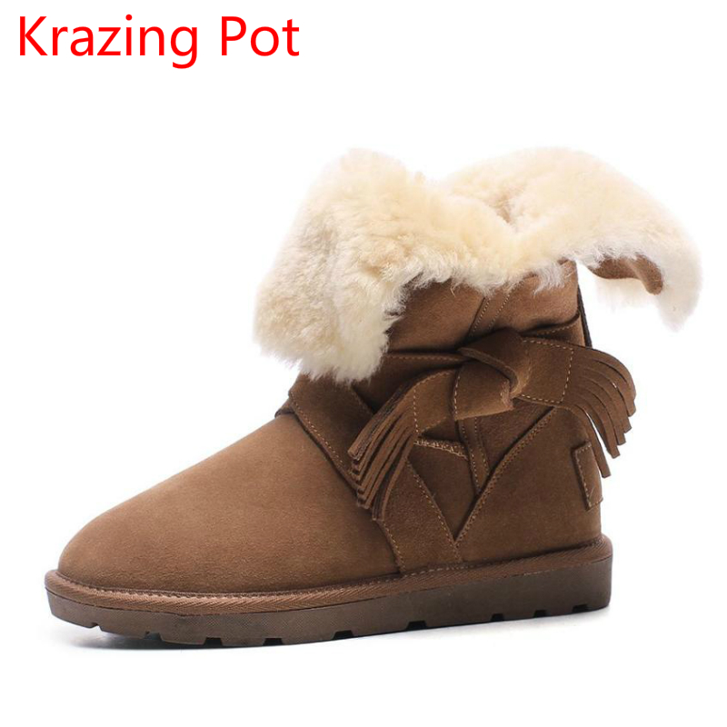 New Arrival Cow Suede Round Toe Flat with Bowtie Tassel Runway Winter Shoes Solid Snow Boots Brand Keep Warm Mid-calf Boots L21 big size 34 43 winter russian women keep warm shoes 100% cow suede fur shoes flat with round toe solid ankle lady snow boots