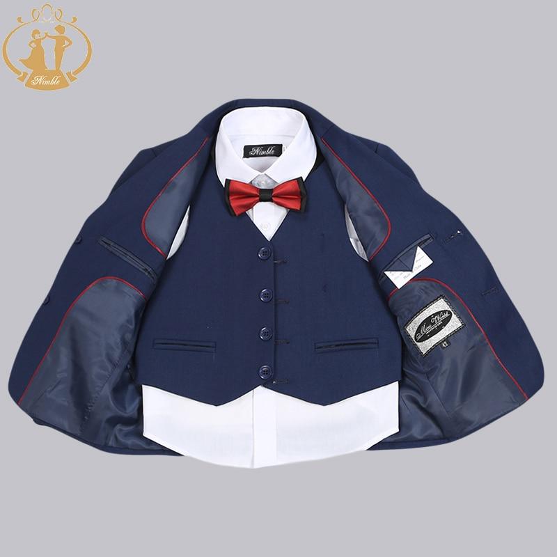 Nimble Brand New Formal Solid Boy Suits Set 3 stycken + Jacka + Pant - Barnkläder - Foto 5